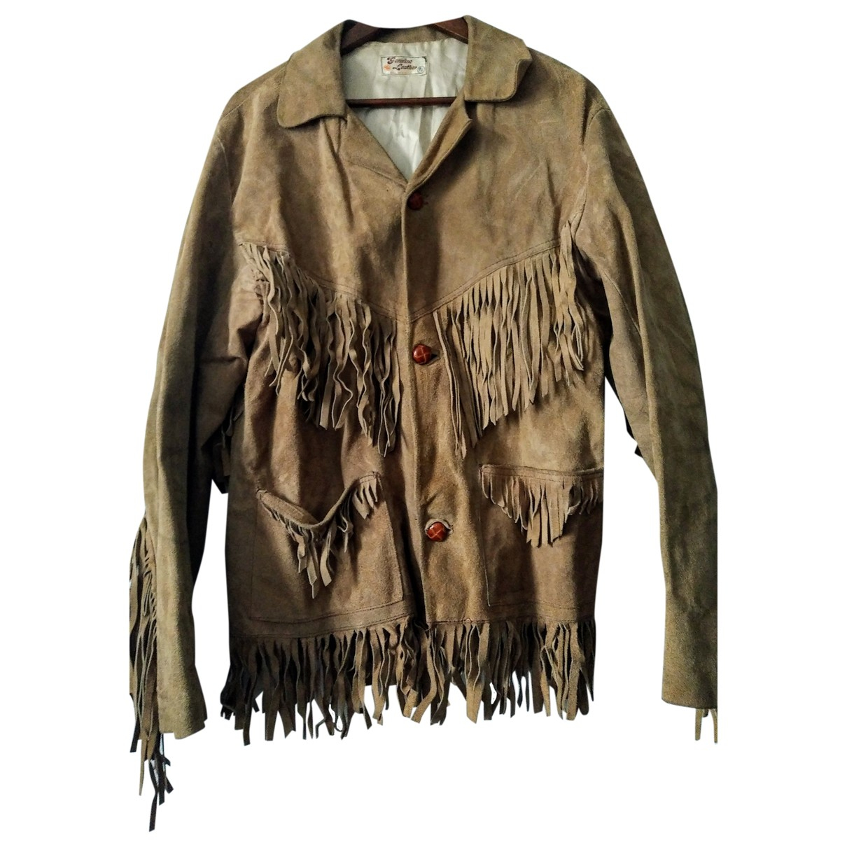 Non Signé / Unsigned Hippie Chic Camel Suede jacket  for Men XL International