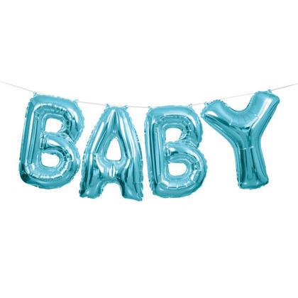 Blue Foil Balloon Letter Banner BABY 14