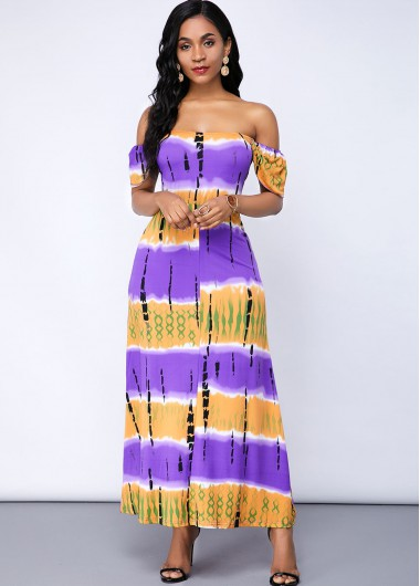 Cocktail Party Dress Short Sleeve Off the Shoulder Printed Maxi Dress - XL