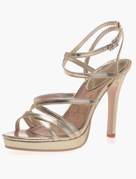 Milanoo PU esmaltado stilettos sandalias gladiador