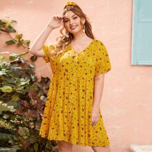 Plus Ditsy Floral Button Front Smock Dress