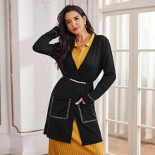 Contrast Topstitching Dual Pockets Coat Without Belted
