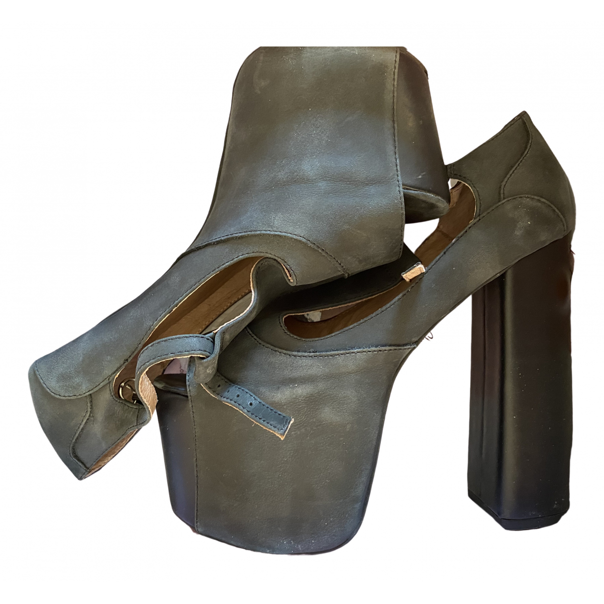 Jeffrey Campbell \N Anthracite Leather Sandals for Women 39 EU