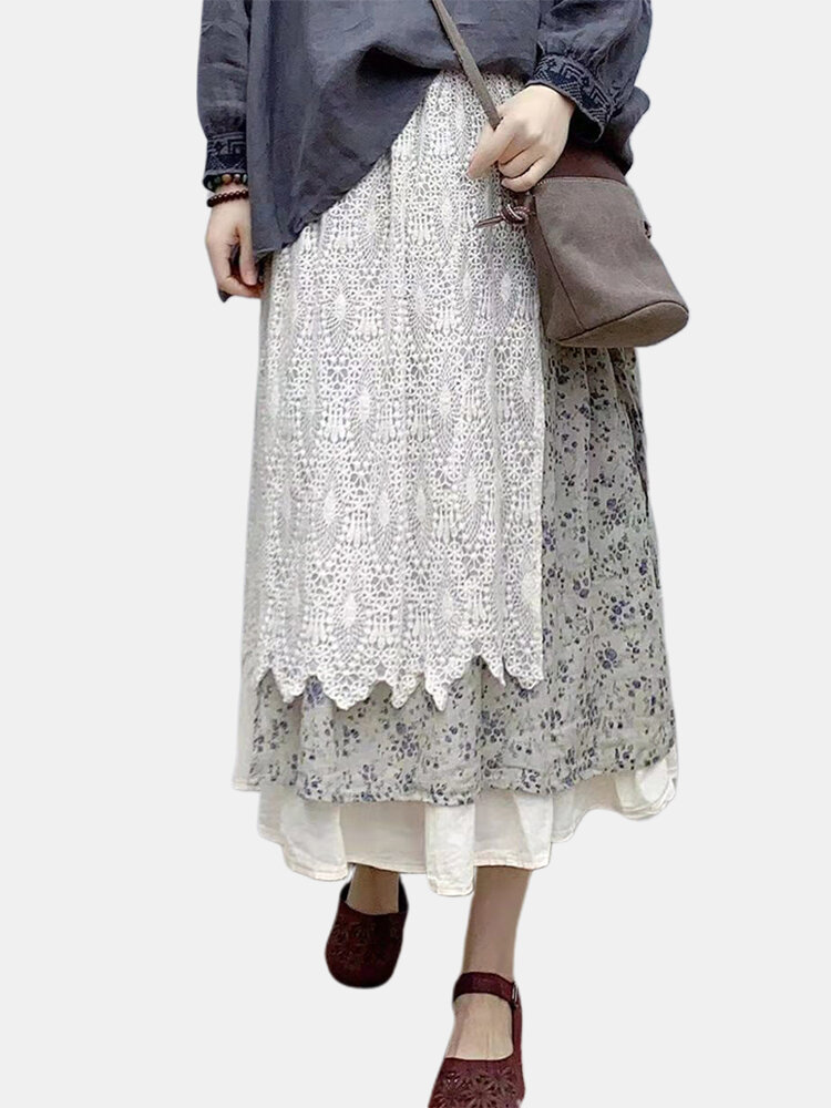 Lace Floral Printed Three Layer Elastic Waist A-line Mid-calf Skirts