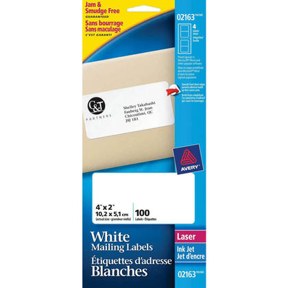 Avery@ Permanent Adhesive White Filing Labels - 4 x 2