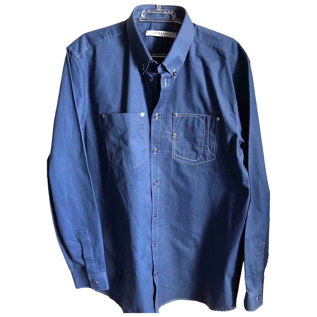 Givenchy \N Blue Cotton Shirts for Men 39 EU (tour de cou / collar)