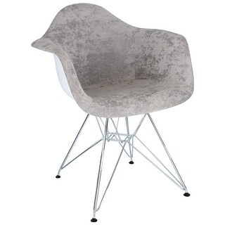 LeisureMod Willow Velvet Accent Armchair Eiffel Chrome Base (Cloudy Gray)