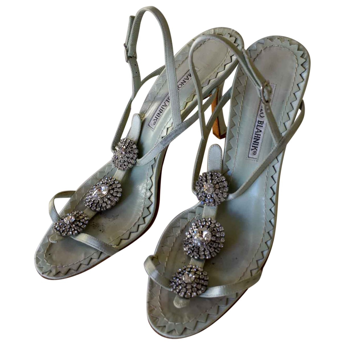 Manolo Blahnik \N Turquoise Cloth Sandals for Women 39 EU