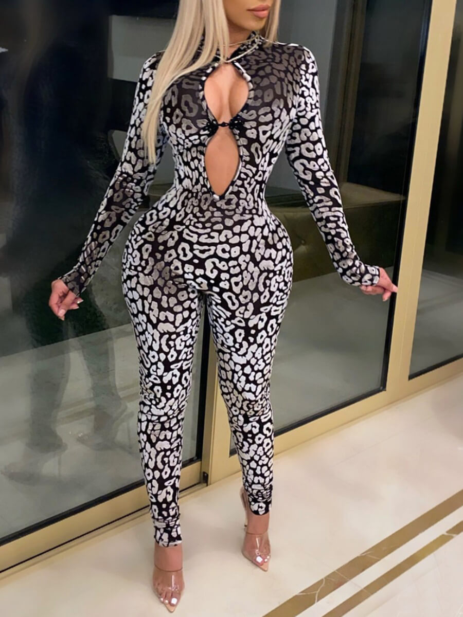 LW Lovely Sexy Hollow-out Leopard Print One-piece Jumpsuit