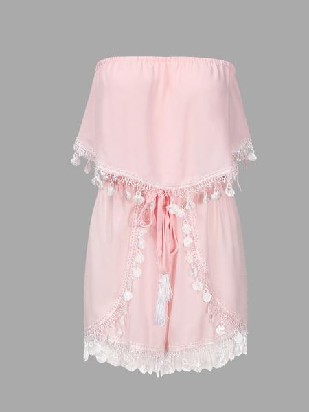 Yoins Pink Semi-sheer Off The Shoulder Lace Trim Playsuit