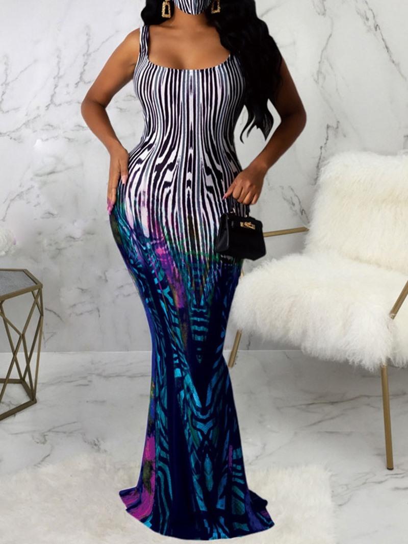 Ericdress Floor-Length Sleeveless Print Regular Dress