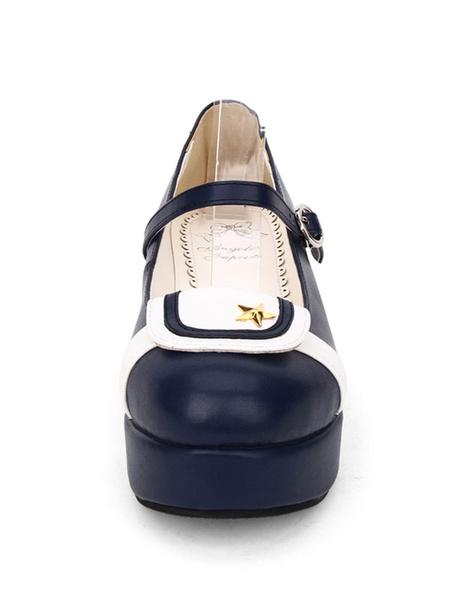 Milanoo Sailor Style Lolita Pump Starlet Two Tone PU Lolita Flatform Shoes