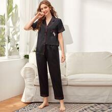Satin Schlafanzug Set mit Kontrast Bindung und Flicken