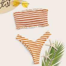 Gestreiftes Smocked Bandeau Mit Hochgeschnittenem Bikini