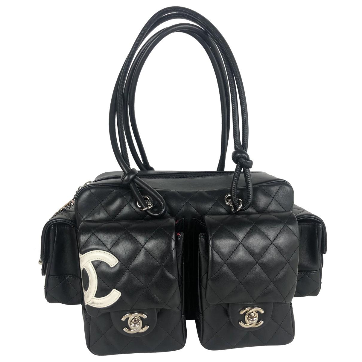 Chanel Cambon Black Leather handbag for Women N