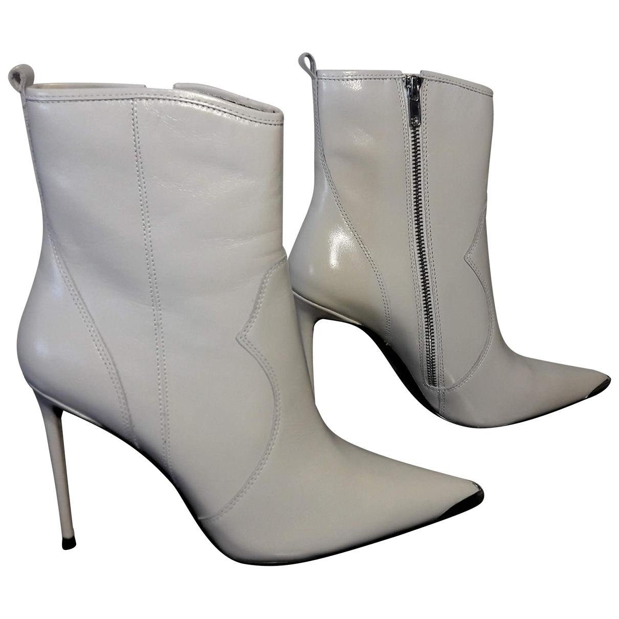 Steve Madden - Boots   pour femme en cuir - blanc