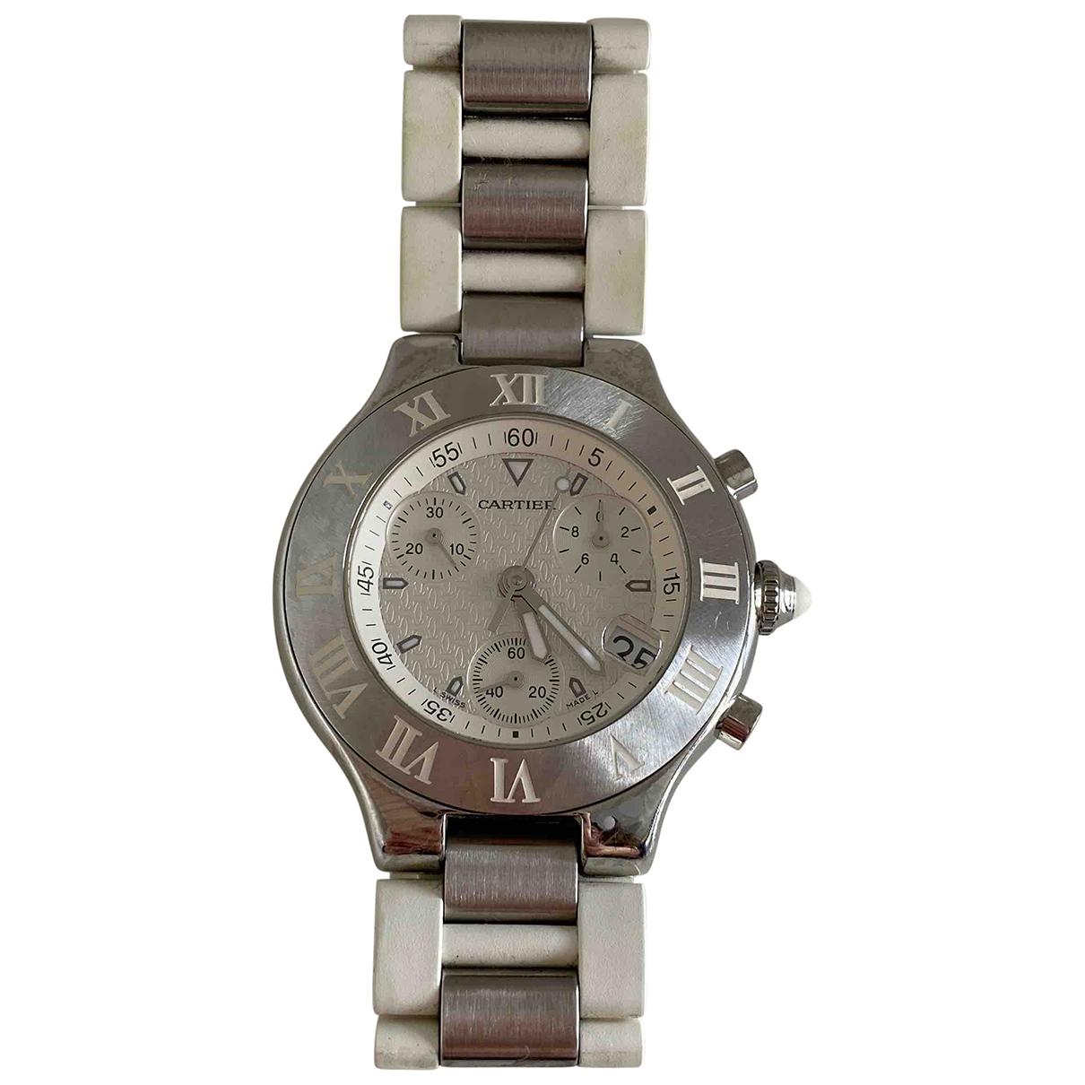 Cartier Chronoscaph 21 Uhr in  Weiss Stahl