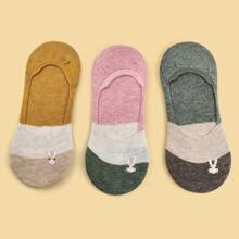3 Paare Socken mit Hase Stickereien