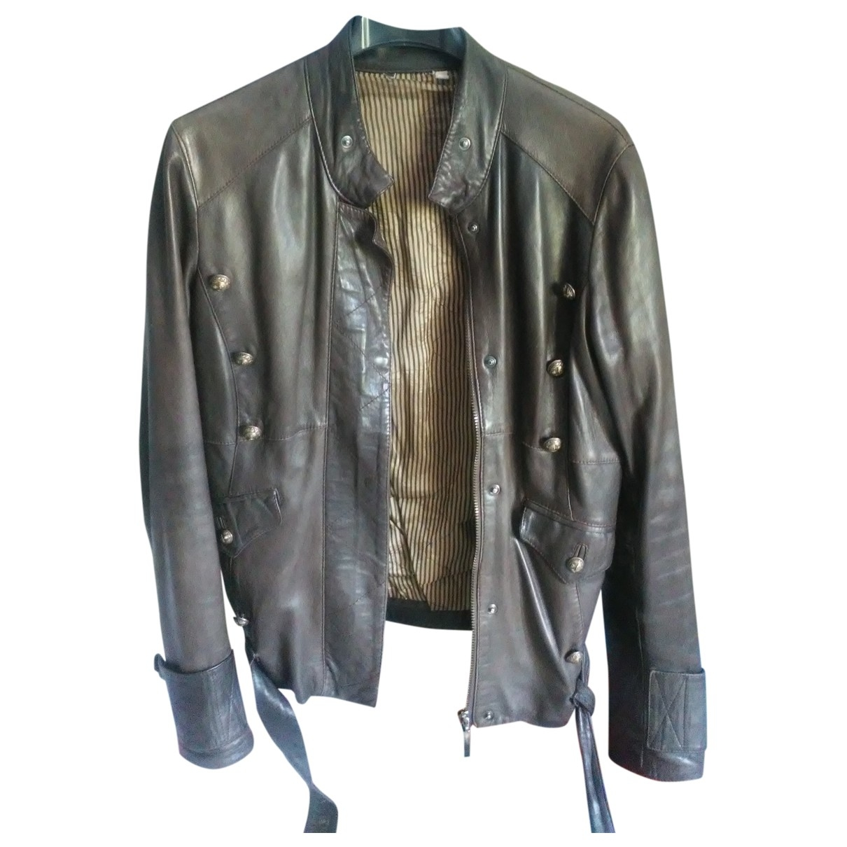 Non Signé / Unsigned Hippie Chic Brown Leather jacket for Women 42 IT