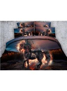 3D Fiery Unicorn Printed Cotton 5-Piece Comforter Sets