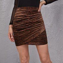 Ruched Leopard Velvet Bodycon Skirt