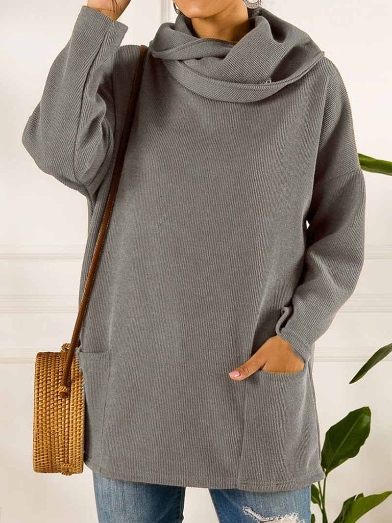 Ericdress Loose Long Sleeve Pocket Sweater