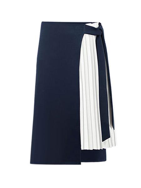 Milanoo Skirt For Women Black Pleated Two-Tone Chiffon Mid-calf Length Raised Waist Maxi Autumn And Winter Women Bottoms