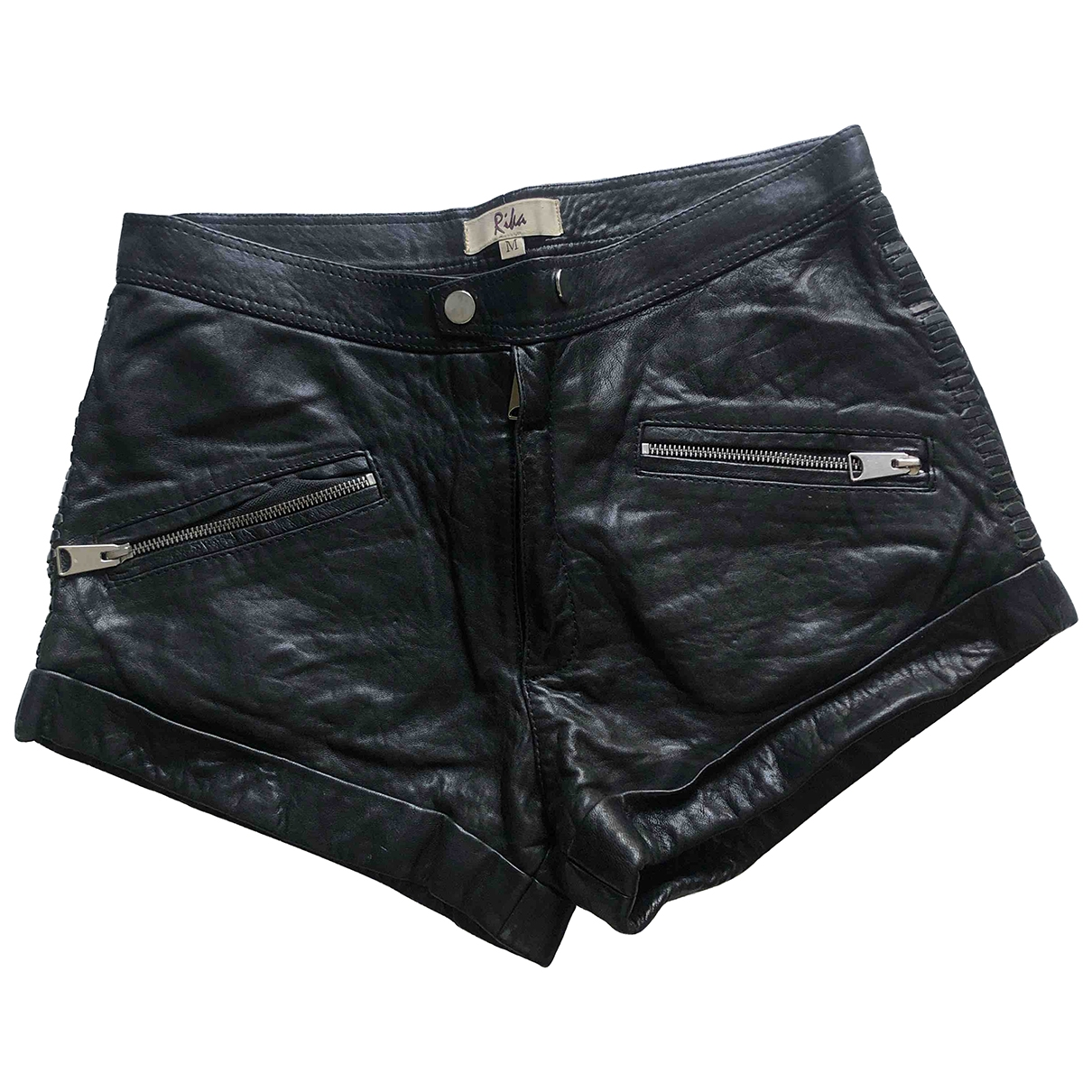 Rika - Short   pour femme en cuir - noir