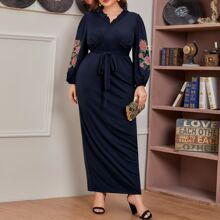 Plus Floral Embroidery Belted Dress