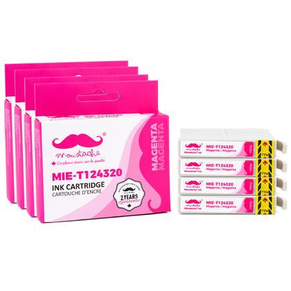 Compatible Epson T124320 cartouche d'encre magenta - Moustache@ - 4/paquet