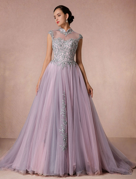 Milanoo Lace Wedding Dress Tulle Chaple Train Bridal Gown A-line Illusion Neckline Quinceanera Dress Backless Luxury Pageant Dress