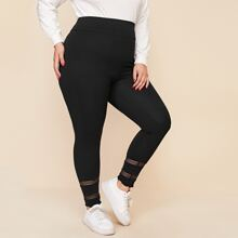 Leggings unicolor con malla
