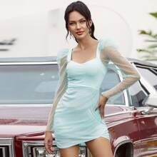 Double Crazy Kleid mit Gogot Ärmeln, Punkten Muster und Netzstoff