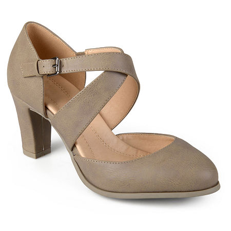 Journee Collection Womens Ainsli Pumps Stacked Heel, 11 Medium, Beige
