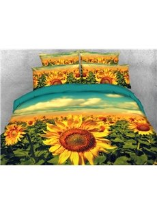 Beautiful Sunflower 3D Printed 4-Piece Polyester Bedding Sets/Duvet Covers
