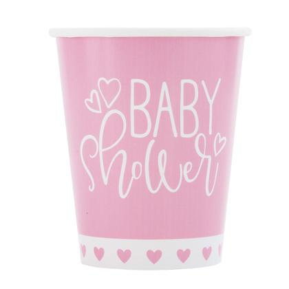 Coeurs roses Baby shower 9 oz gobelets en papier, 8ct