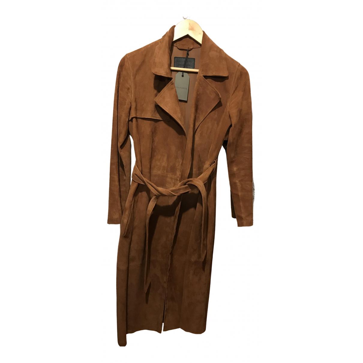 All Saints - Manteau   pour femme en suede - marron