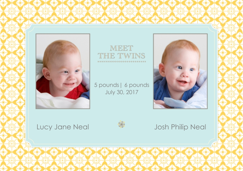 Newborn 5x7 Cards, Premium Cardstock 120lb with Scalloped Corners, Card & Stationery -Meet the Twins