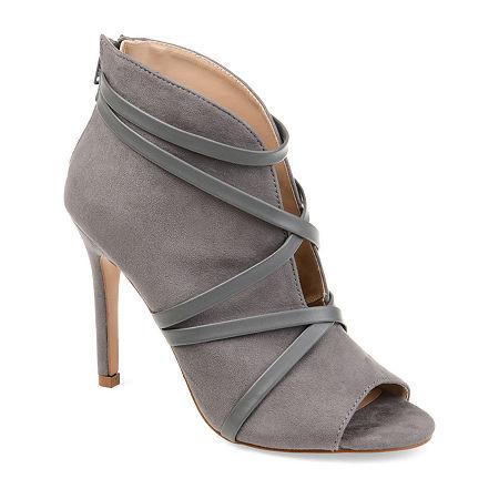 Journee Collection Womens Samara Booties Stiletto Heel Zip, 7 Medium, Gray