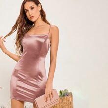 Solid Satin Dress
