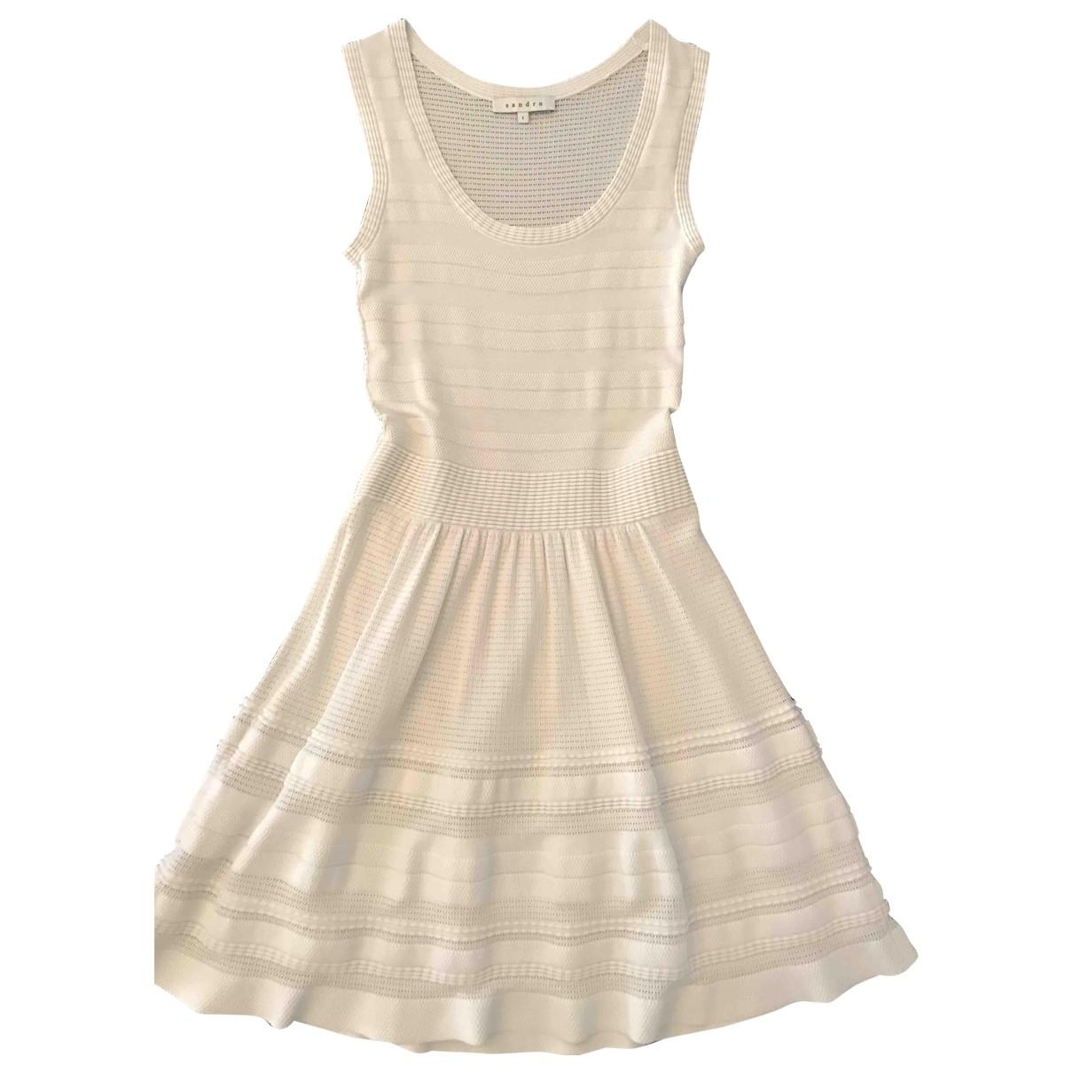 Sandro - Robe   pour femme en coton - elasthane - blanc