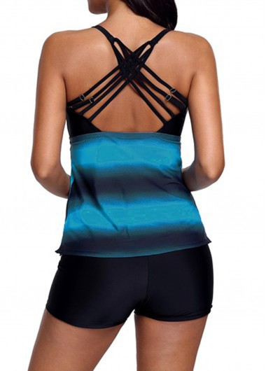 Rosewe Women Blue Strappy Tankini Swimsuit Printed Strappy Back Blue Tankini Top and Shorts - S