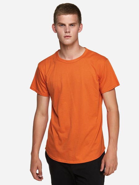 Yoins Orange Street Style Pure Color Crew Neck Short Sleeve Curved Hem Men's T-Shirt