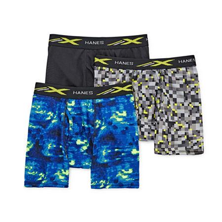 Hanes Poly Printed Little & Big Boys 3 Pack Boxer Briefs, Medium , Multiple Colors