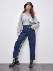 Button Waist Colorblock Mom Jeans
