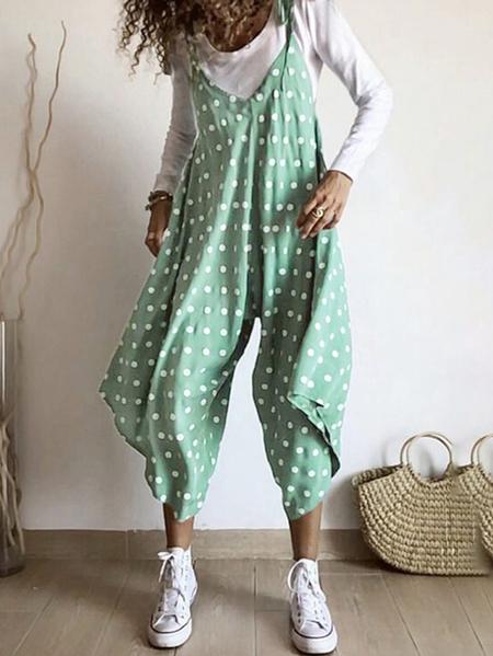 Yoins Celmia Tie-up Design Polka Dot Jumpsuit