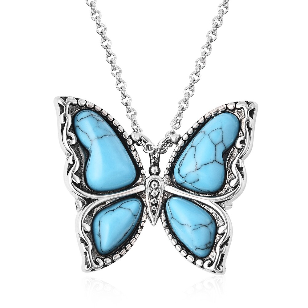 Stainless Steel Blue Howlite Pendant Necklace Size 20 Inch Ct 16.6 - Size 20'' (Howlite - Blue - Blue - Size 20'')