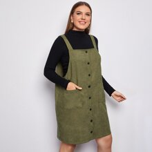 Plus Button Front Corduroy Overall Dress