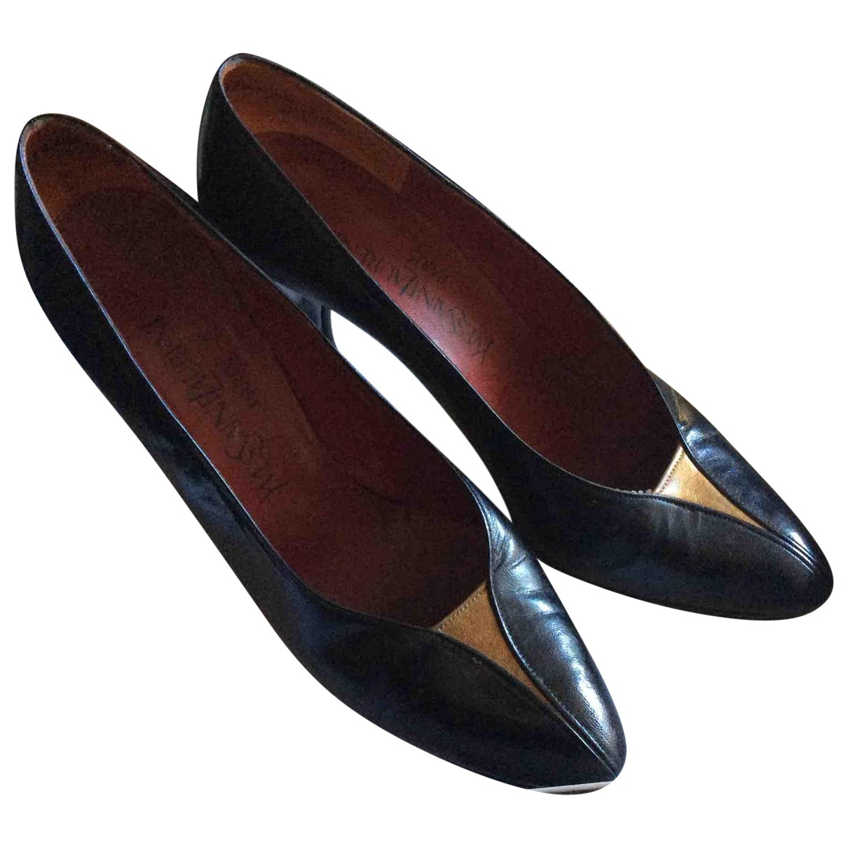 Yves Saint Laurent \N Black Leather Heels for Women 37.5 EU