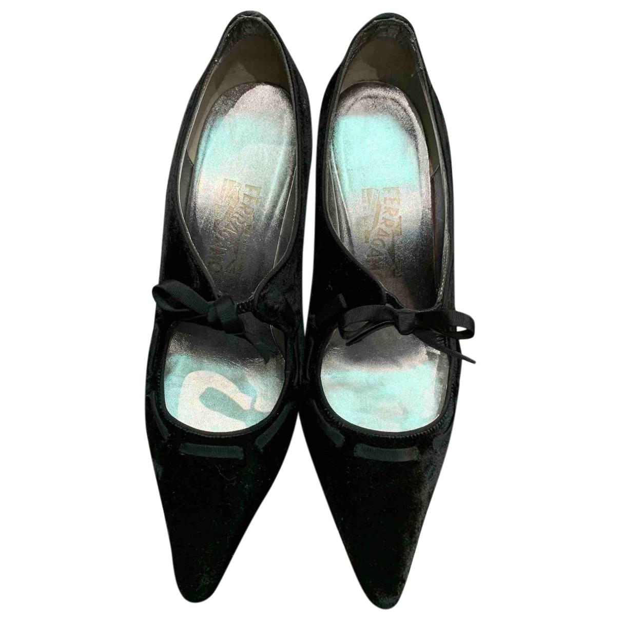 Salvatore Ferragamo N Black Suede Heels for Women 39 IT